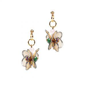 Studio Boneli Σκουλαρίκια πολύχρωμα, σύνθεση με μεταλλικά λουλουδάκια και κρυσταλλάκια