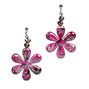 Σκουλαρίκια μαργαρίτες φούξια με κρυσταλλάκια