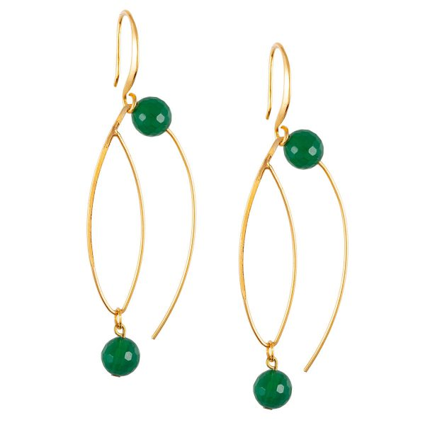 ΠΛΑΝΗΤΕΣ σκουλαρίκια με πράσινο αχάτη - Studio Boneli