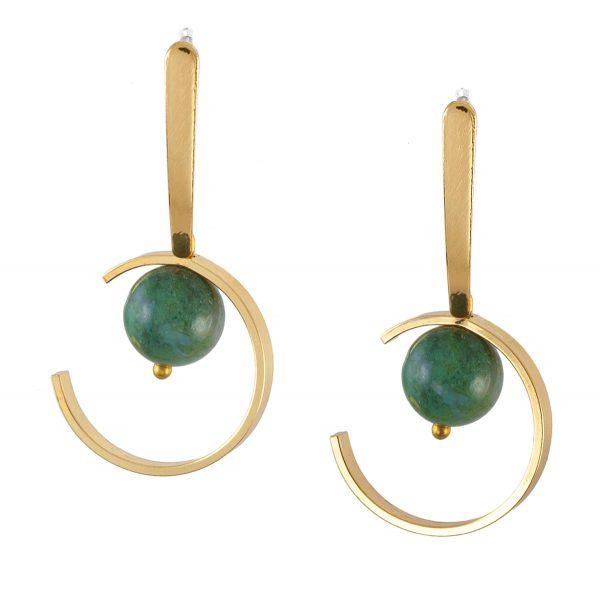 ΠΛΑΝΗΤΕΣ σκουλαρίκια χρυσό με πράσινο αχάτη