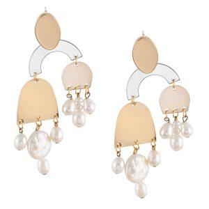 Studio Boneli REFLECTIONS σκουλαρίκια μεγάλα με μαργαριτάρια μπαρόκ