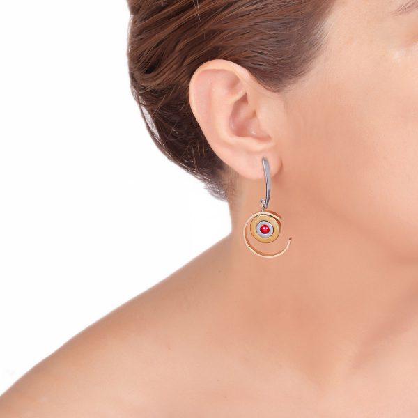 ΠΛΑΝΗΤΕΣ σκουλαρίκια με συνδυασμό μετάλλων