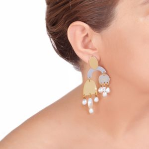 REFLECTIONS σκουλαρίκια μεγάλα με μαργαριτάρια μπαρόκ
