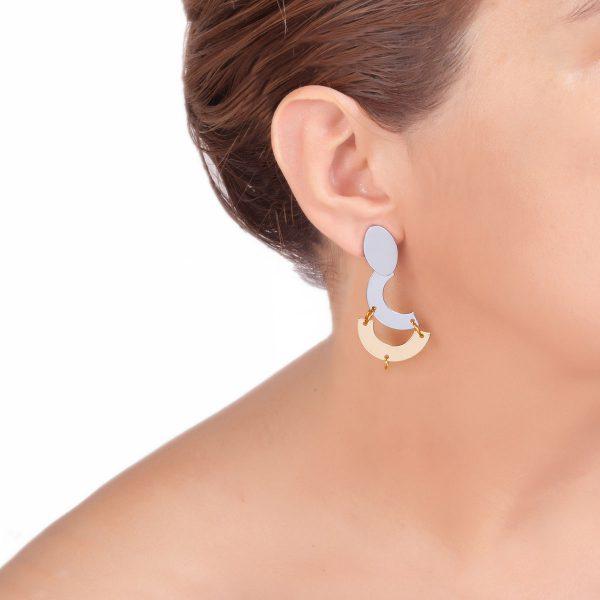 REFLECTIONS σκουλαρίκια ασημί - χρυσό