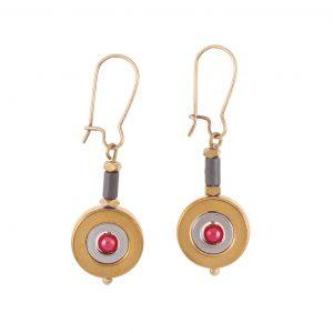 Σκουλαρίκια ΠΛΑΝΗΤΕΣ με διπλό αιματίτη & κόκκινη πέρλα