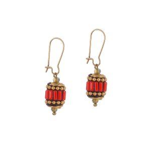 Σκουλαρίκια μικρά BOHO με κόκκινο έθνικ στοιχείο