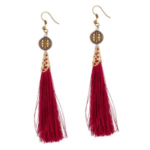 Studio Boneli Μακριά σκουλαρίκια με κόκκινη φούντα & μπρούτζινο φίλιγκρι