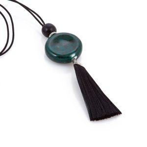 Κολιέ μακρύ BOHO με πράσινο στοιχείο από πορσελάνη