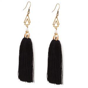Μακριά σκουλαρίκια με μαύρη φούντα & κρυσταλλάκια swarovski