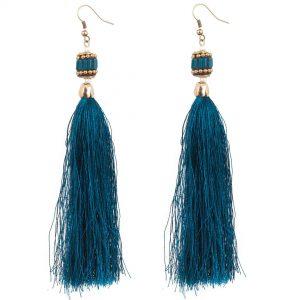 Studio Boneli Μακριά σκουλαρίκια με μπλε φούντα & ethnic στοιχείο από σμάλτο