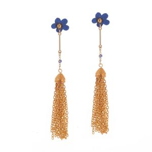 Studio Boneli Μακριά σκουλαρίκια FLOWERS με χρυσές αλυσίδες