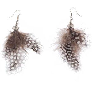 Studio Boneli Έθνικ σκουλαρίκια με πολύχρωμα φτερά