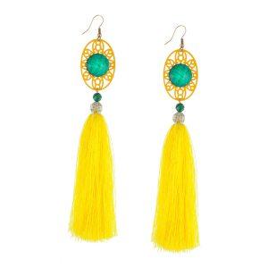 Studio Boneli Χειροποίητα Μακριά σκουλαρίκια με κίτρινη φούντα & εντυπωσιακό τιρκουάζ στοιχείο