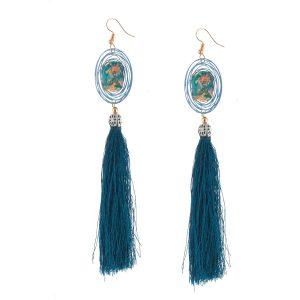 Studio Boneli χειροποίητα Μακριά σκουλαρίκια με μπλε φούντα & εντυπωσιακό στοιχείο