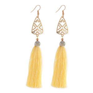 Studio Boneli χειροποίητα σκουλαρίκια με κίτρινη φούντα και χρυσό μεταλλικό στοιχείο