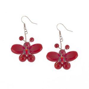 Studio Boneli χειροποίητα Κοντά σκουλαρίκια πεταλούδες από γυαλί σε σκούρο κόκκινο/ μπορντό χρώμα.
